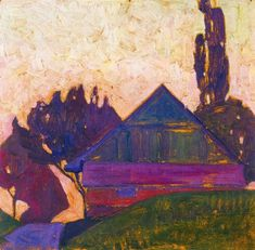 Egon Schiele (Austrian, Expressionism, 1890-1918): House Between Trees I, 1908. Oil on board