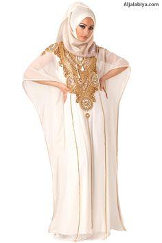 The White Nightingale Kaftan  Crushed chiffon jalabiya with embroidery (N-14961-2) $154.00