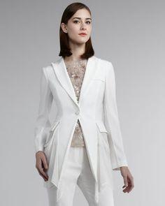 Kay Unger New York Long Sleeve Gabardine Jacket - Neiman Marcus