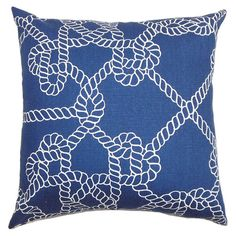 "Cotton pillow with nautical rope motif. Made in the USA.  Product: PillowConstruction Material: Cotton cover and 95/5 down fillColor: NavyFeatures:  Insert includedHidden zipper closureMade in the USA Dimensions: 18"" x 18""Cleaning and Care: Spot clean"