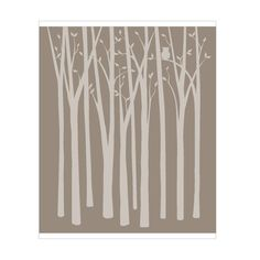 Birch Tree Silhouettes Wall Mural    (Mural Kit includes: pattern, transfer paper, directions & color guide.)  $69.95  (L x W x H)  Dimensions: 0 in × 72 in × 86 in