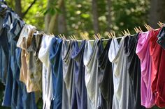 Line drying laundry tips  -  The first tip I see is DON'T hang them like that!  Talk about wrinkled!  Sure never looked like our lines.