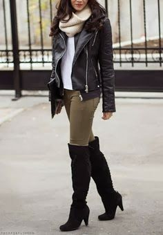 Modern Leather Jacket and Circle scarf with Grey Jeans, White Blouse and Black Long Boots