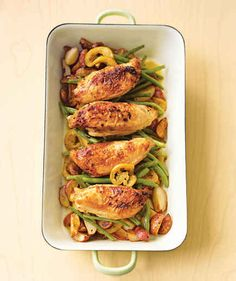 Pan-Roasted Chicken with Lemon-Garlic Green Beans | 7 Quick Dinners To Make This Week