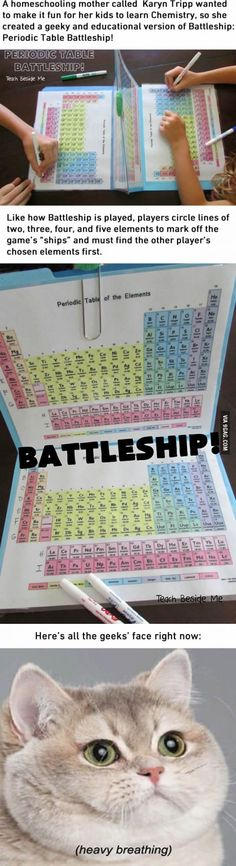 I'd have loved Chemistry a lot more with this Periodic Table Battleship Ich hätte Chemie mit diesem Periodensystem-Schlachtschiff viel mehr geliebt E Mc2, Physical Science, Teaching Science, Science Geek, Science Symbols, Kindergarten Science, Science Fun, Science Projects, School Hacks