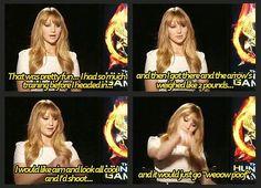 Jen talking about shooting arrows on set :)