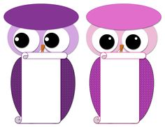 Printable Pink n Purple owls: fold top oval in half and staple over a paper bag or print on cardstock as invites or thank you/note post cards with personal message