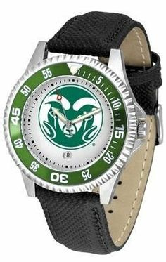 Colorado State Rams CSU NCAA Mens Leather Wrist Watch by SunTime. $68.95. 1 year limited manufacturer warranty. Officially licensed. The Competitor Watch With Poly / Leather Band is the hottest design in watches today! A functional rotating bezel is color-coordinated to compliment your favorite team logo. A durable long-lasting combination nylon/leather strap together with a date calendar round out this best-selling timepiece.This watch comes with a 3 year limited...
