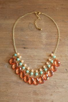 Mint and Coral Bib Necklace. $40.00, via Etsy.