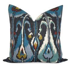 Robert Allen Ikat Bands Pillow Cover in Indigo  SAME by OhMyPillow, $35.00