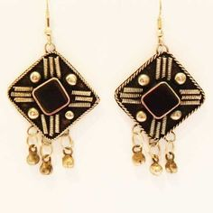 Large black Asiana Ethnic drop earrings for pierced ears Silver and black dramatic colors give this pair a Bedouin look Black enamel with silver metal