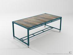 AK Atelier Dining Table 200 Blue Petrol