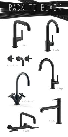 & Bath Trend :: Black Hardware & Fixtures Black to consider for kitchen? kitchen and bath design trends - black faucets // coco+kelleyBlack to consider for kitchen? kitchen and bath design trends - black faucets // coco+kelley Design Hotel, Küchen Design, Design Trends, Interior Design, Bad Inspiration, Bathroom Inspiration, Black Kitchens, Home Kitchens, Kitchen Black