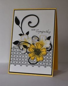 handmade card from Life on The Scrap Heap: Just Playing Around... luv the way the die cut flowers and leafy flourish form a posy ... yellow and black for the dynamic duos color challenge ... wonderful card!
