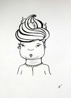 Ann-Kathrin Nikolov: Frau Hubert. #Tusche auf 150g/m2 #Hahnemühle #Illustration #Karikatur #Brustbild #Sahnehäubchen #Frisur #Nikolov #AnnKathrinNikolov #drawing #edding #startyourart www.startyourart.de