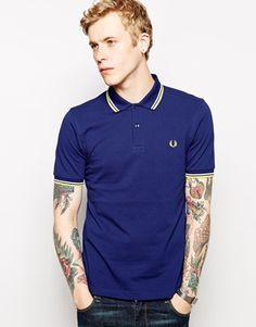 Fred Perry Polo Shirt with Twin Tip Slim Fit