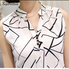 Soperwillton New Summer Chiffon Blouse Women Printed Sleeveless Blouse White Striped Blouses Shirts Female Office Shirt #A806