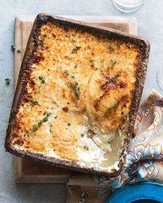 Fennel, taleggio, potato, parmesan and thyme gratin recipe Side Recipes, Unique Recipes, Oven Dishes, Side Dishes, Potato Dishes, Veggie Dishes, Savoury Dishes, Celeriac