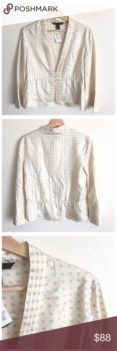"""Marc Jacobs Cream Green Tile Print Bell Sleeve Top Features:  Deep V neckline Button front closure Peplum style hem Bell shaped sleeves Pleated button placket  Materials:  100% Silk  Sizing:  Total length: 20.75"""" to 23.25"""" Bust: 36"""" Waist: 33"""" Sleeves: 21""""  Condition:  New with tags. Natural wear throughout due to storage, but overall this item is in great condition.   VW.0617.B14. Marc Jacobs Tops Blouses"""