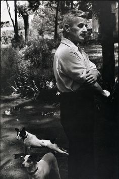 William Faulkner: Photographed by Henri Cartier-Bresson (Oxford, Mississippi, 1947) via 'Men and Their Dogs' blog #WilliamFaulkner #HenriCartierBresson #dog