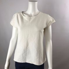Talbots Top Womens Stretch Shirt Textured Scales Cap Sleeves White Size SMALL    #Talbots #KnitTop #Career