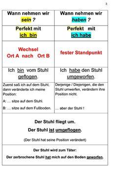 Deutsch als Fremdsprache DaF DaZ Grammatik - Perfekt-Schautafeln