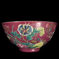 """Pair of Chinese 18th/19th c. JiaQing Bowls w/ Stand footed base, with vivid purple glaze body, contrastly decorated with delicate painting of blossoms and foliage. Both raised on Carved Harwood Stands. Mark on Base, 6 Blue Characters, JiaQing Reign and of the Period. 5 5/8"""" Diameter, 33/4"""" Height"""