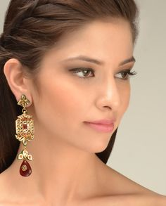 Long Dangling Kundan Earrings  by Just Jewellery