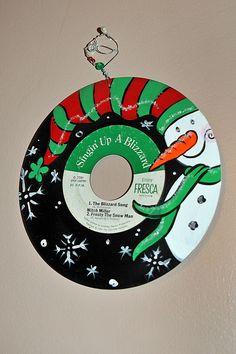 Hand painted Snowman on Vinyl 45 Christmas Record. $18.00, via Etsy.