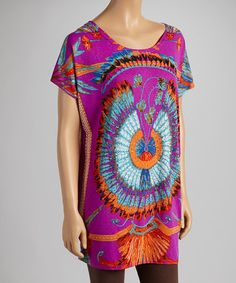 Take a look at this Purple & Orange Feather Short-Sleeve Tunic - Women by India Boutique on #zulily today!