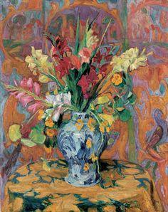 'Gladioli in a Japanese Vase', 1921 - Hans Purrmann Painting Still Life, Still Life Art, Art Floral, Still Life Flowers, Pierre Auguste Renoir, Henri Matisse, Botanical Art, Vases, Love Art