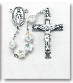"""5x9mm Aurora Flat Oval Swarovski Crystal Beads with Sterling Silver Miraculous Center and 2"""" Sterling Crucifix. Includes a Deluxe Velour Gift Box."""