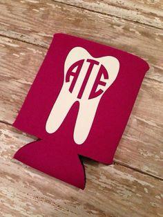 Monogrammed Tooth Koozie - Dentist, Dental Hygienist, Dental Assistant Gift