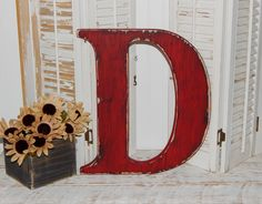 large wooden letter d or any letter distressed 18 inch wood letters choose letter color