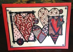 love cards, coloring cards, zentangle, zendoodle hearts, heart card