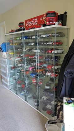 Scale Model Car Collection So Far Model Display Cases, Toddler Car Bed, Acrylic Display Case, Model Cars Kits, Displaying Collections, Luxurious Bedrooms, Scale Models, Game Room, Vintage Toys