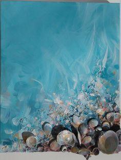 Turquoise kunst Seashell schilderen origineel schilderij