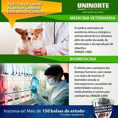 A Escola de Saúde da UniNorte acaba de ganhar dois novos cursos: Medicina Veterinária e Biomedicina.  #uninorte #vestibular