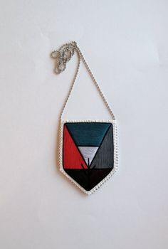 Embroidered pendant necklace with colorblock by #AnAstridEndeavor