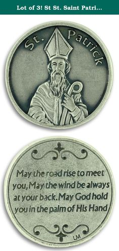 "Lot of 3! St St. Saint Patrick / Prayer Pocket Token Charm Coin 1.2"" Catholic Coin. Lot of 3. This beautifully detailed, large silver dollar-sized religious pocket token coin is made in Italy, and silver oxidized to last. An inexpensive gift that you, your friends, or your loved ones can carry in their purse or pocket and enjoy for years to come. An image of St. Patrick is on the front and the prayer ""May the road rise to meet you. May the wind be always at your back. May God hold you in…"