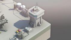 Lowpoly Scifi world on Behance Game Concept, Concept Art, 3d Design, Game Design, Terrain 40k, Low Poly 3d, Blender 3d, Environmental Art, City Buildings