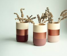 Natural Wooden Vases – Home Decor – Copper Paint – Homeware – Set of 3 – Livingroom Accessories – gift for Her - Home Decoration Ideas Home Decor Sets, Home Decor Accessories, Decorative Accessories, Home Decor Copper, Natural Home Decor, Copper Paint, Copper Color, Copper Blush, Painted Flower Pots