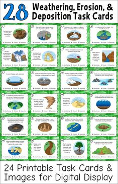 Weathering, Erosion, and Deposition Task Cards - 24 printable task cards and task card images that show how weathering, erosion, and deposition are involved in changing the earth's landforms. Perfect for active engagement lessons, cooperative learning games, independent practice, whole-class review, and formative assessment. Also includes 2 self-grading Google Classroom quizzes!