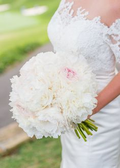 Classic Ivory and Blush Peony Bridal Bouquet  Mariee Ami Wedding Planning + Heather Durham Photography