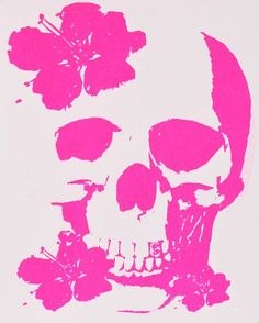 Pink Skull Print with flowers. $15.00 USD, via Etsy.