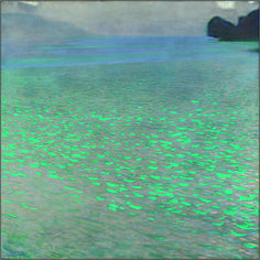 """A """"frame filled with lake water"""" is what one contemporary art critic called Gustav Klimt's 1901 painting of Lake Attersee. Although several commentators are of the opinion that this lake painting is almost even abstract, it wa Gustav Klimt, Klimt Art, Art Et Illustration, Illustrations, Wow Art, Oeuvre D'art, Painting Inspiration, Vincent Van Gogh, Art History"""