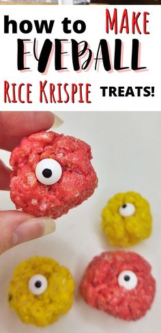 This quick and easy recipe for Eyeball Rice Krispie Treats is perfect for the Halloween season. They make an excellent accent to any spooky snack table. #nobakedesserts #easydesserts #ricekrispietreats #holidaytreats #holiday #halloween