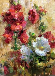 """Daily Paintworks - """"New Mexico Hollyhocks"""" - Original Fine Art for Sale - © Julie Ford Oliver"""