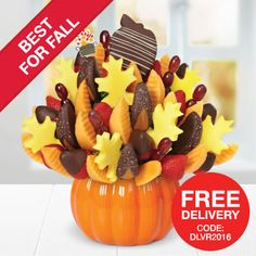 Our Salted Caramel Harvest Bouquet™ Dipped Strawberries is one of our favorite Thanksgiving Gifts! Featuring leaf-shaped pineapple Edible® Pops, salted caramel apple wedges, dipped strawberries, and more, this treat will certainly look (and taste) great on your Thanksgiving dessert table!