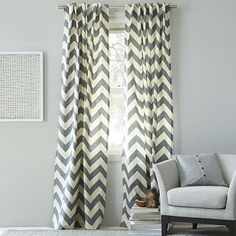 Cotton Canvas Zigzag Window Panel - Feather Gray #WestElm